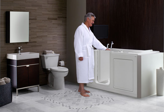 Accessible bathrooms walk in bathtub shower seats for Bathrooms with walk in tubs
